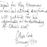 Olive's dedication to me in a book of Edwin's photographs she gave me in 1990.